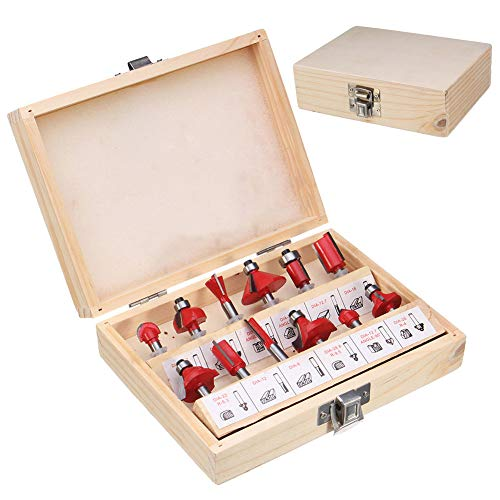 Flush Tip Cutter (Milling Cutter - 12 Pcs 1 4 Inch Router Bits Set Shank Tungsten Carbide Tip Woodworking Power Cutter Tb - Wood Milling Holder Cutter Assortment Tools Manicure Router Machine Cutters Nail Tool)
