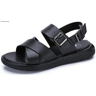 Camel Herren Sandalen Strand atmungsaktiv Peep Toe Kuh Leder Schuhe ColorBlue/Schwarz Black