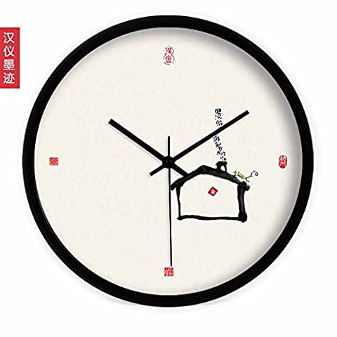 YANYANGXIN Modern Colorful Mute Wall Clock Home Office Decor Gift for Kitchen Living room Bedroom Calligraphy Cabana /14 inch/ brushed stainless