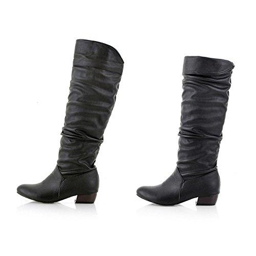 BHYDRY Schuhe Damen Winter Klassisch Elegant Overknees Langschaft Stiefel Hohe Stiefel RöHre Flache Niedrige Ferse Reitstiefel(41 EU,Schwarz)