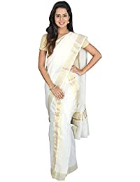 K S Collection Women's Kerala Kasavu Cotton Set Mundu Saree (KSC-022_Off-White_Free Size)
