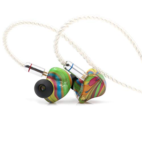 Linsoul Peacock Audio P1 Dynamic HiFi In-Ear Earphones, Custom Hand Made Earbuds for Audiophile DJ Musician with Detachable 2Pin 0.78mm Cable (11-Rainbow) - Rainbow Dynamic-serie