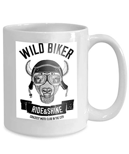 Mug Coffee Tea Cup Vintage Images Buffalo Bison ox Design Motorcycle Bike Motorbike Scooter Club aero Club Hand Drawn Image 110z Besten Bikes Buffalo