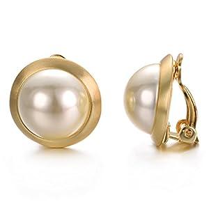 Yoursfs Clip on Ohrringe Elfenbein Perlen Runde Ohrringe ohne durchbohrt Clip auf Ohrringe