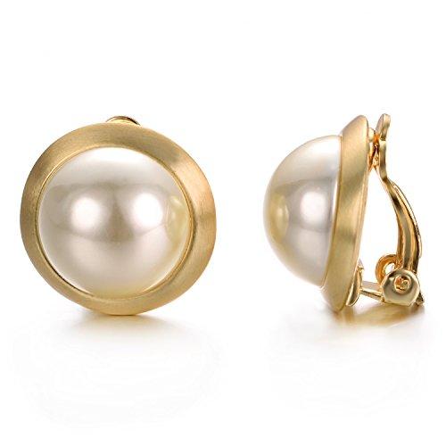 inge Elfenbein Perlen Runde Ohrringe ohne durchbohrt Clip auf Ohrringe ()