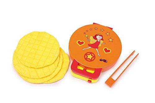 """Small Foot by Legler Waffeleisen """"Leonie"""" aus Holz, klappbar mit 3 Textil-Waffeln und einer Holzzange, Temperatur-Regler sorgt für ein realistisches Spielgefühl, ein tolles Küchen-Spielzeug für Kinder ab 3 Jahren"""