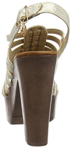 Xti Sandalia SRA. Metalizado Oro, Sandales Plateforme Femme Or - ORO