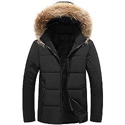 SOIXANTE Manteau Homme Doudoune à Capuche Col Fourrure Doublure Chaude pour Hiver, Noir, EU M=Asiatique 2XL