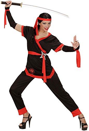 Widmann 05863 - Erwachsenenkostüm Ninja Girl, Jacke, Hose, Gürtel, Armstulpen und Stirnband (Machen Sie Ein Ninja Kostüm)