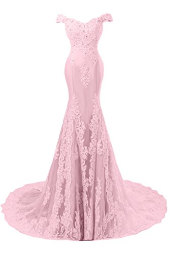 Sunvary Romantisch Mermaid Neu Spitze Traeger Abendkleid Ballkleider Rosa-1