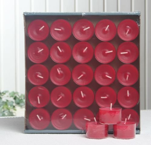 25 Teelichter - Nightlights, transp. Hülle, 7-8 Std. rubinrot