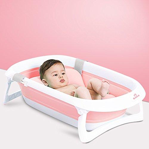 MMM- Baby-Bad-faltender Wanne-bequemer Speicher-neugeborener Versorgungsmaterial-Baby kann sitzen und legen Badewaschbecken-Kindergroße dickere Wanne, die für Babys der unterschiedlichen Alter verwendbar ist ( Farbe : Pink , größe : Bathtub+bath mat ) (Wanne Äußere)