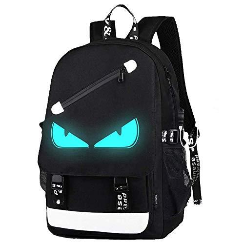 Schultaschen, Anime Luminous Rucksack USB Ladeanschluss Laptoptasche Handtasche Leinwand Schulter Daypack für Cool Girls Boys Teens Outdoor Rucksack (Schwarz-böses Auge1)