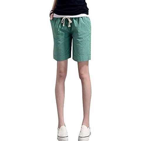 Minetom Femmes Shorts en lin Courts Sport Casual Rétro été Taille Haute Pantalons Couleurs de Bonbons Vert EU