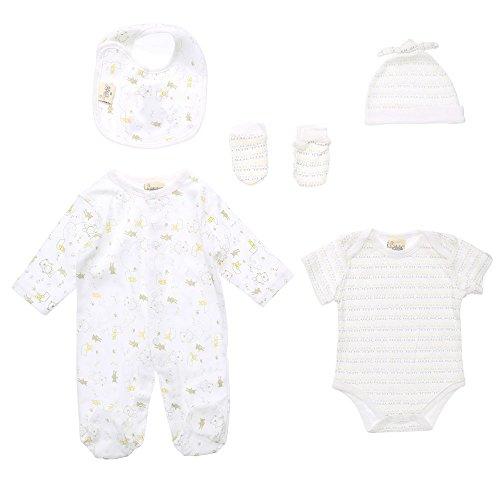 Baby-Jungen Erstausstattung, JUST TOO CUTE Baby-Jungen 5-Er Pack Erstausstattung 5 Teiler , Weiß Gelb, in Größe 40/50