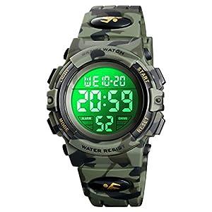 7-farbige Kinder-Armbanduhr für Jungen, wasserdichte Outdoor-Sport-Digitaluhr mit Wecker/Timer/LED-Licht, elektronisch, stoßfest, Armbanduhr für Teenager und Kinder