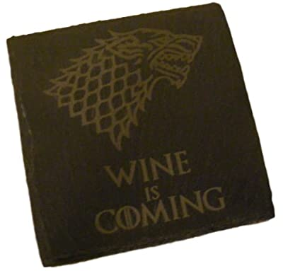 FastCraft SLATE GAME OF THRONES INSPIRED COASTERS DRINKS MAT ENGRAVED NOVELTY BIRTHDAY PRESENT WEDDING HOUSE WARMING GIFT LASER ENGRAVED WINE IS COMING