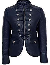 VICTORY 8976 Ladies NAVY BLUE Military Parade Style Soft Real Nappa Leather Jacket