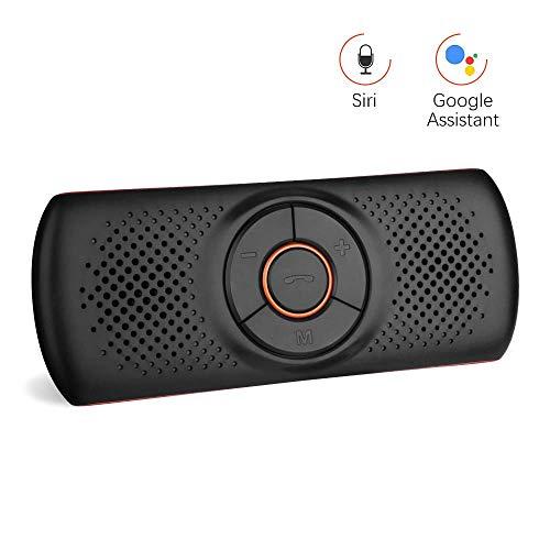 Aigoss Manos Libres para Coche Bluetooth 4.2 con Siri y Google Asistente de Comandos de Voz, Kit de Coche Altavoz inalámbrico para Visera, Conexión de 2 teléfonos simultáneamente - Naranja