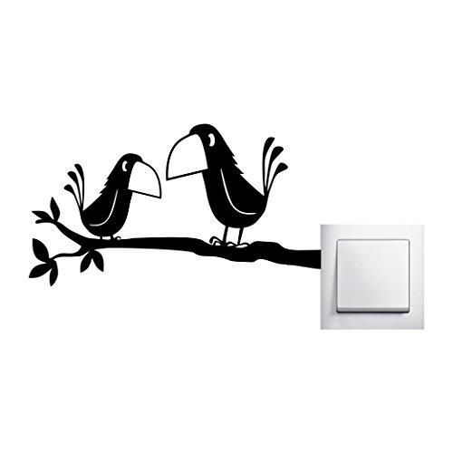 Preisvergleich Produktbild Zwei Krähen auf einem Ast Wandtattoo Rabe Vögel Aufkleber Wall Art , Ausführung Links