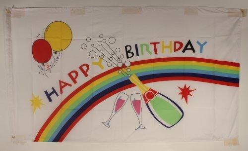 Happy Birthday Flagge Großformat 250 x 150 cm wetterfest Fahne