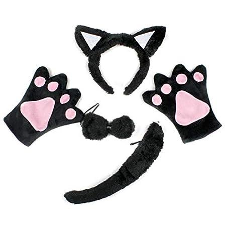 Petitebelle Black Cat Headband Bowtie Tail Gloves 4pc Children Costume (Black)