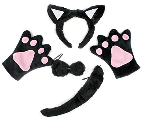 Petitebelle Black Cat Headband Bowtie Tail Gloves 4pc Children Costume (Black) (Schwarz Katze Tail Kostüm)