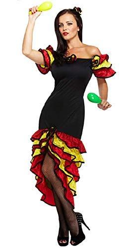 Fancy Me Damen Sexy Spanischer Flamenco Rumba Tänzer Kostüm Kleid Outfit STD &Übergröße - Schwarz, Plus (UK ()