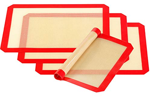 Rosenstein & Söhne Dauerbackfolie Silikon: 4er-Set Antihaft-Dauer-Backmatten aus Silikon, 30 x 40 cm, BPA-frei (Silikon-Dauerbackmatten)