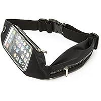 Cinturón de Running Elástico – Perfecto para Móvil y iPhone – Riñonera Deportiva Impermeable para Hombre y Mujer – Ventana Transparente para Controlar la Pantalla – Garantía de Reembolso (2 bolsillos - Negro)