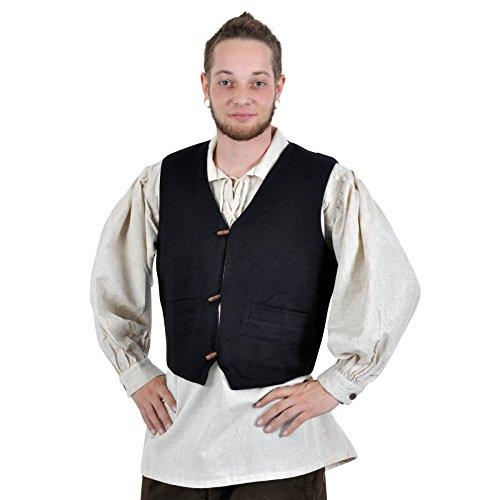 Elbenwald Mittelalter Weste Herren handgewebt Taschen Holzknöpfe Baumwolle gefüttert schwarz - S