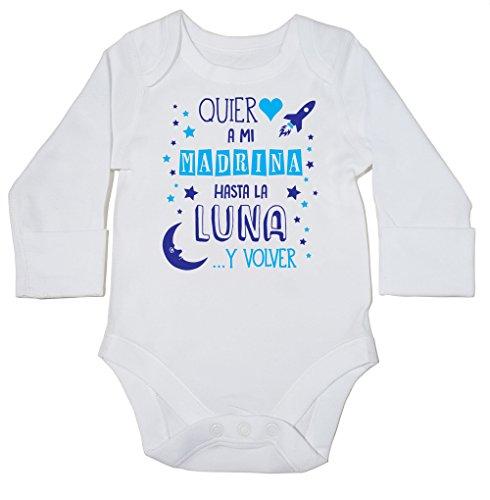 HippoWarehouse ¡Quiero a mi Madrina hasta la Luna y Volver! (Azul) Momento Body Manga Larga Bodys Pijama niños niñas Unisex