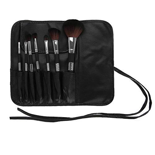 Semme pinceaux de maquillage, sac cosmétique pour les femmes composent organisateur de brosse fondation 7pcs blush eyeliner fard à paupières brosse cosmétique(03(Silver Brushes+ Storage Bag))