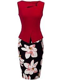HOMEYEE - Vestido - Corte Imperio Floral Cutaway Sin mangas - para mujer B288