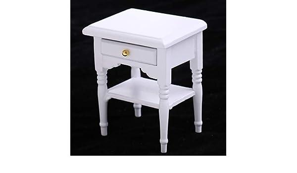 Maison de poupées miniature 1:12th échelle Blanc Chevet Tiroirs
