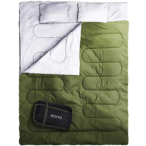 Eono Double Sleeping Bag for Camping, Backpacking, Hiking, Tent, Camper Outdoor Queen Size XL Two Person Sleeping Bag 32F, Lightweight and Compack