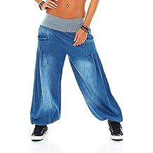 Malito Mujer Pantalones Bombacho Mezclilla Pantalones Anchos Talla Única  6258 808b4274166