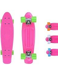 City ridertm Skateboard Rosa de Original Mini Cruiser–22Pulgadas/57cm–Retro Skateboards para niños y niñas rosa y verde