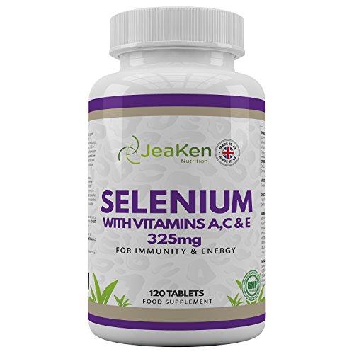 SELENIO ACE por JeaKen - Selenio de alta calidad + vitaminas A, C, E para la fertilidad, la función tiroidea, la inmunidad y la energía - Mejora el cabello, la piel y las uñas