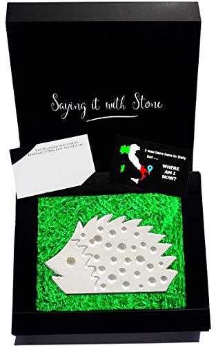 Hérisson fait à la main - Symbole de protection - Coffret cadeau et carte de message inclus - Handmade in Italy - Idée cadeau femme homme anniversaire remerciement amie