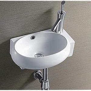 Cerámica lavabo pequeño blanco pared montaje para lavabo cerámica 43,5x 30x 13cm