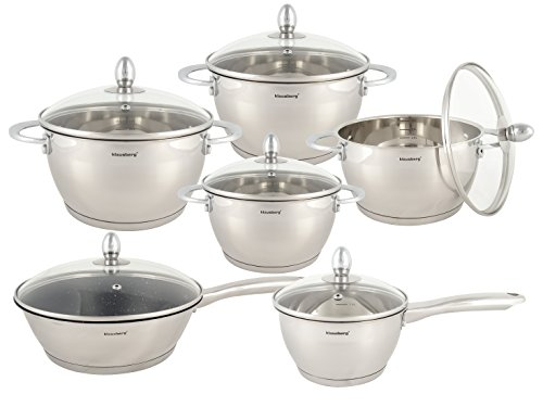 6 Piece Pan Set, Cookware Set, Saucepan Set- Stainless Steel Silver Suitable for Induction, Ceramic, Electric and Gas Cooktops.