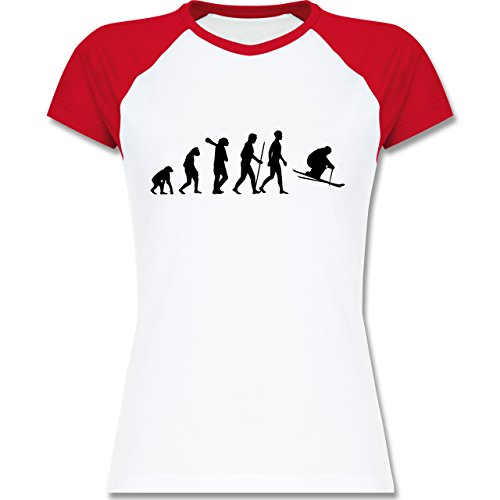 Shirtracer Evolution - Skiabfahrt Evolution - Zweifarbiges Baseballshirt/Raglan T-Shirt für Damen Weiß/Rot