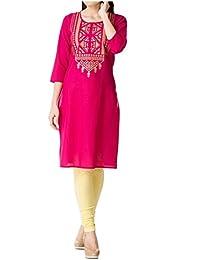 Muta Fashions Cotton Blend Pink Traditional Women Kurti ( KURTI365_Pink )
