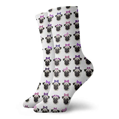 AORSTAR Socken Socks Breathable Pretty Pug Girls Crew Sock Exotic Modern Women & Men Printed Sport Athletic Socks 11.8in (Socke 6 Pack Athletic-crew)
