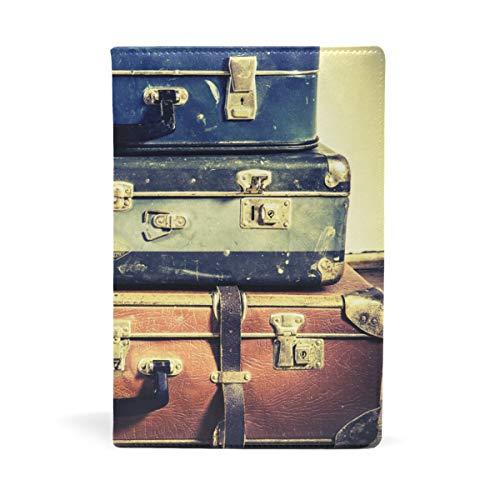 EZIOLY Old Koffer dehnbarer Buchumschlag passend für die meisten Hardcover-Lehrbücher bis 22,6 x 14,5 cm, klebstofffreier Stoff Schulbuchschutz Einfach anzubringen. Wash & Re-Use