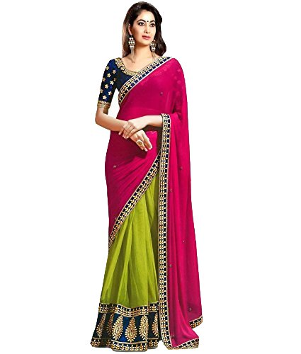 Saree By Saree Mandir Women's Georgette Saree (_Green And Pink_Free Size)