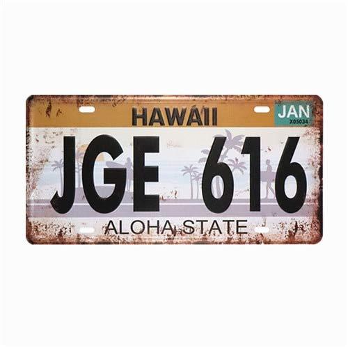 Nummernschild - JGE 616 HAWAII License Plate Mann Höhle garage Zeichen für Menschen Haus - Tin Sign Vintage Metall Wand Retro-stil Poster Malerei Plaketten Kunst Pub Bbq Beer Bar Alkohol Wein PinUp Garage Tankstelle USA Benzin