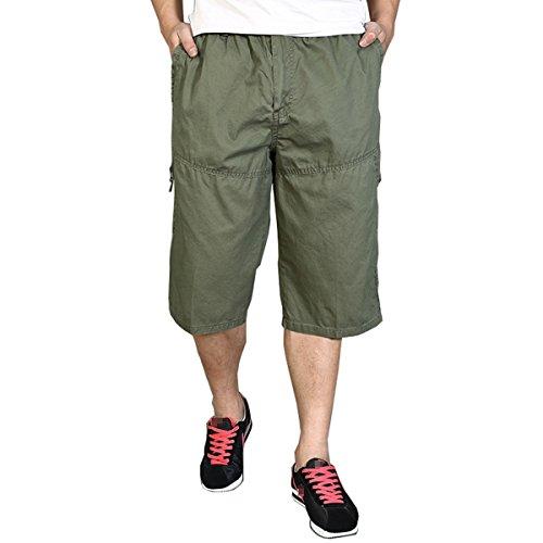 Pocket Cuffed Capris (Herrenuhr Sommer dünn Style zuzüglich Größe abgeschnitten Hose Baumwolle Herren Höschen lässig entspannt Capris Army Green 4XL)