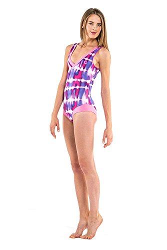 glidesoul Damen V Neck Neopren, Badeanzug L Rosa - Pink/Violet (V-neck-damen Badeanzug)